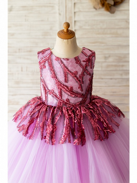 Ball Gown Asymmetrical Wedding / Birthday Flower Girl Dresses - Tulle Sleeveless Jewel Neck With Paillette_3