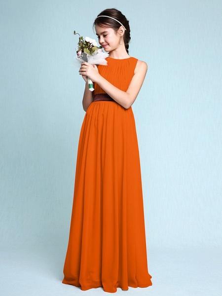 Sheath / Column Scoop Neck Floor Length Chiffon Junior Bridesmaid Dress With Draping / Natural_17