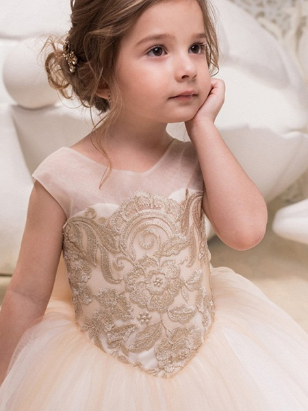Princess / Ball Gown Sweep / Brush Train Wedding / Party Flower Girl Dresses - Lace / Tulle Cap Sleeve Jewel Neck With Bow(S) / Appliques_3