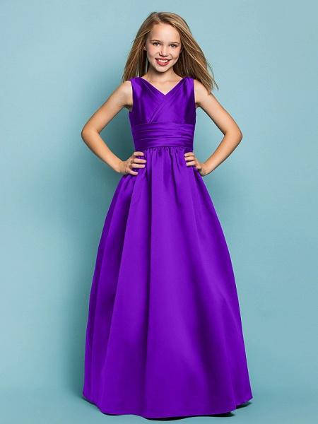 Princess / A-Line V Neck Floor Length Satin Junior Bridesmaid Dress With Sash / Ribbon / Criss Cross / Spring / Summer / Fall / Apple / Hourglass_36