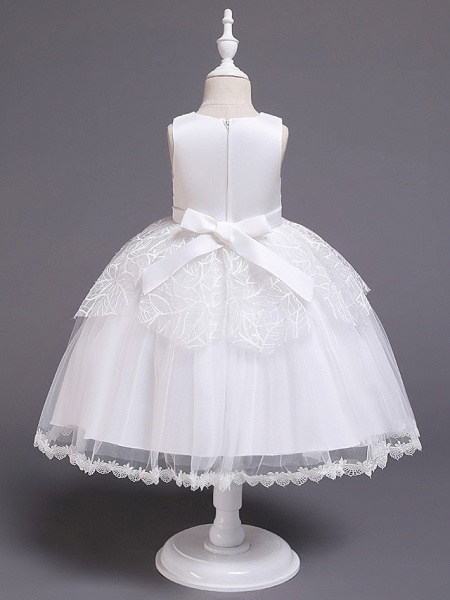 Princess Midi Wedding / First Communion / Birthday Flower Girl Dresses - Satin / Tulle Sleeveless Jewel Neck With Bow(S) / Embroidery / Paillette_3