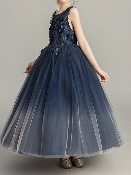 Ball Gown Floor Length Pageant Flower Girl Dresses - Polyester Sleeveless Jewel Neck With Appliques_3