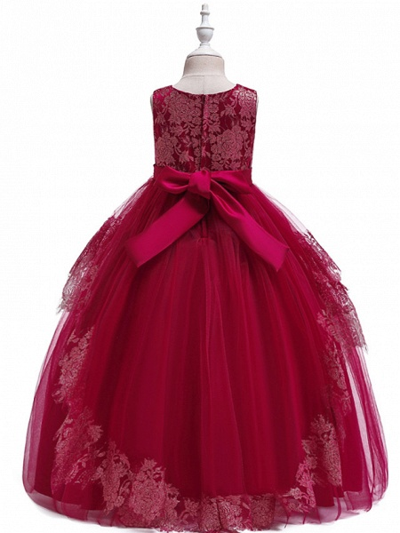 Princess Floor Length Wedding / Party / Pageant Flower Girl Dresses - Lace / Satin / Tulle Sleeveless Jewel Neck With Belt / Crystals / Beading_10