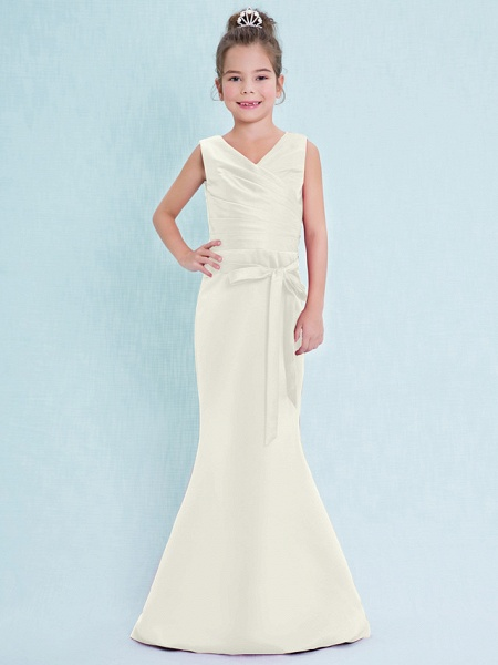 Mermaid / Trumpet V Neck Floor Length Satin Junior Bridesmaid Dress With Criss Cross / Natural_21