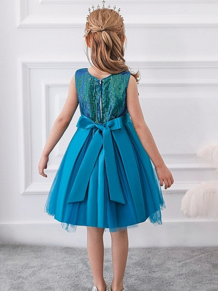 Princess / Ball Gown Knee Length Wedding / Party Flower Girl Dresses - Tulle Sleeveless Jewel Neck With Sash / Ribbon / Bow(S) / Paillette_8