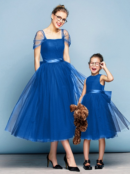 Princess Tea Length Party / Prom / Formal Evening Flower Girl Dresses - Tulle Short Sleeve Square Neck With Bow(S) / Ruched / Elegant_33
