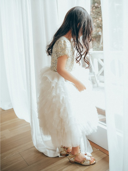 Ball Gown Ankle Length Wedding / Birthday / Pageant Flower Girl Dresses - Tulle / Sequined Short Sleeve Jewel Neck With Paillette_3