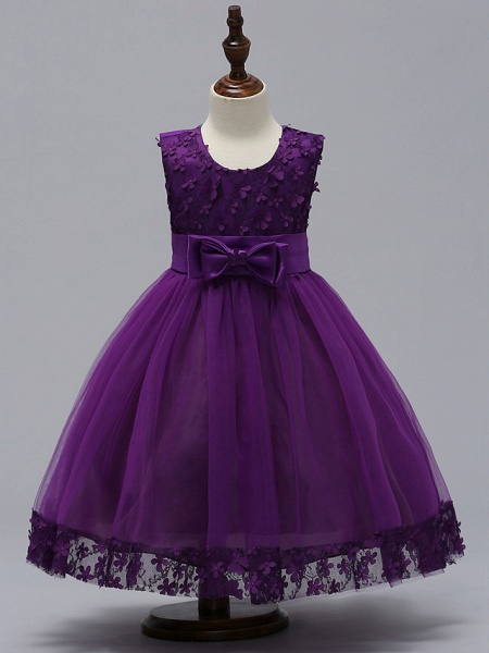 Ball Gown Knee Length Wedding / Party Flower Girl Dresses - Tulle Sleeveless Jewel Neck With Bow(S)_6