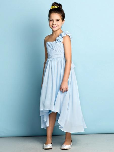 A-Line One Shoulder Asymmetrical Chiffon Junior Bridesmaid Dress With Criss Cross / Flower / Natural / Mini Me_1