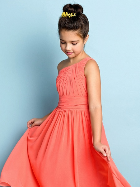 A-Line One Shoulder Ankle Length Chiffon Junior Bridesmaid Dress With Side Draping / Natural / Mini Me_6
