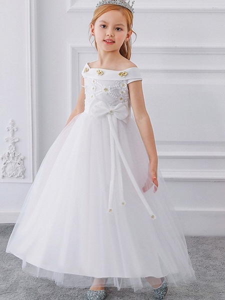 Princess / Ball Gown Floor Length Wedding / Party Flower Girl Dresses - Tulle Short Sleeve Off Shoulder With Sash / Ribbon / Bow(S) / Appliques_4