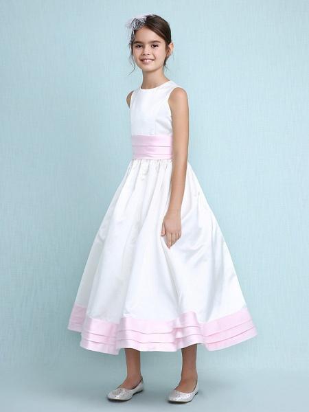 Princess / A-Line Jewel Neck Knee Length Satin Junior Bridesmaid Dress With Sash / Ribbon / Ruched / Ruffles / Spring / Summer / Fall / Winter / Wedding Party_7