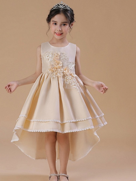 A-Line Asymmetrical Wedding / Party Flower Girl Dresses - Satin Chiffon Sleeveless Jewel Neck With Bow(S) / Appliques_3