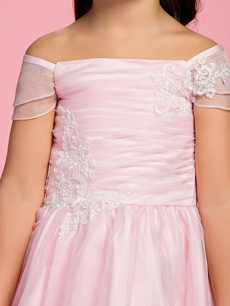 Princess / A-Line Ankle Length First Communion / Wedding Party Organza Short Sleeve Bateau Neck / Off Shoulder With Bow(S) / Ruched / Appliques / Spring / Summer / Fall_7