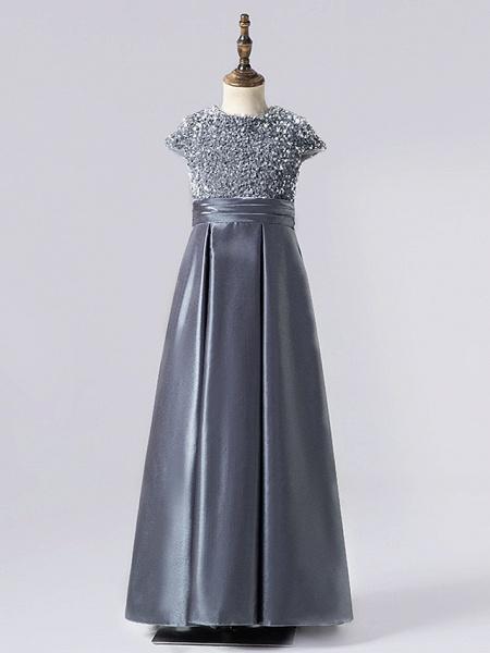 Sheath / Column Floor Length Event / Party / Birthday Flower Girl Dresses - Satin / Sequined Cap Sleeve Jewel Neck With Pleats_2