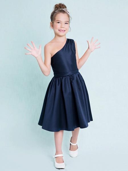 A-Line One Shoulder Knee Length Satin Junior Bridesmaid Dress With Sash / Ribbon / Pleats / Natural_3