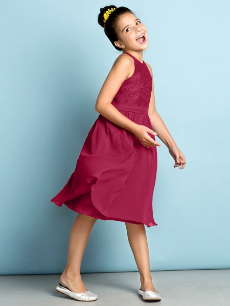 A-Line Jewel Neck Knee Length Chiffon / Lace Junior Bridesmaid Dress With Lace / Natural / Mini Me_27