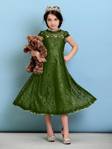 Princess / A-Line Jewel Neck Tea Length Lace Junior Bridesmaid Dress With Pleats / Natural_41
