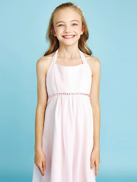 Sheath / Column Halter Neck Asymmetrical Chiffon Junior Bridesmaid Dress With Bow(S) / Beading / Natural_7