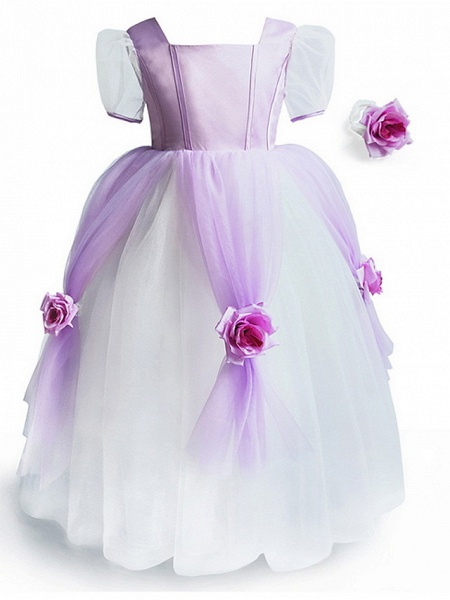 Princess Floor Length Pageant Flower Girl Dresses - Polyester Short Sleeve Scoop Neck With Splicing_5