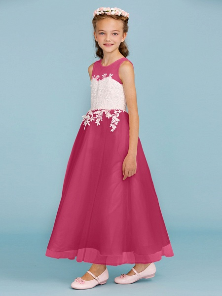 Princess / A-Line Jewel Neck Ankle Length Lace / Tulle Junior Bridesmaid Dress With Sash / Ribbon / Appliques / Wedding Party / Open Back_28