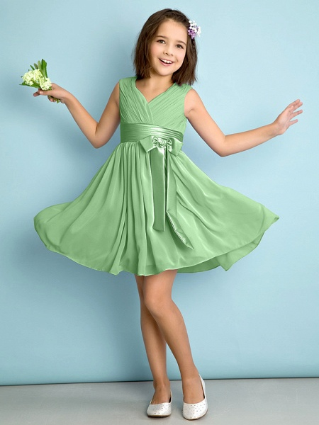 A-Line V Neck Knee Length Chiffon Junior Bridesmaid Dress With Bow(S) / Criss Cross / Natural_28