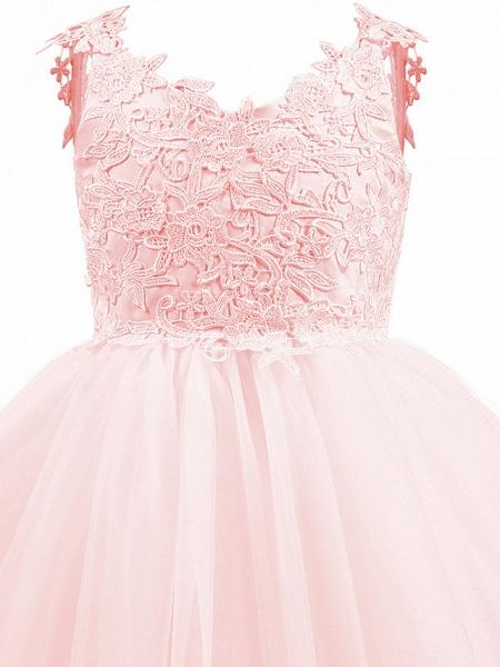 Princess Short Length Wedding / First Communion / Birthday Flower Girl Dresses - Taffeta / Tulle Sleeveless V Neck With Bow(S) / Appliques_6