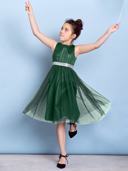 A-Line Jewel Neck Knee Length Tulle Junior Bridesmaid Dress With Sash / Ribbon / Sequin / Draping / Natural_33