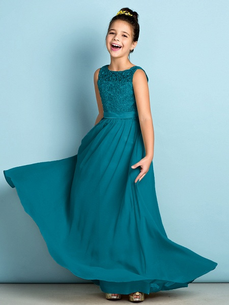 A-Line Scoop Neck Floor Length Chiffon / Lace Junior Bridesmaid Dress With Lace / Natural / Mini Me_28