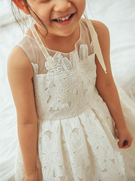 Ball Gown Tea Length Wedding / First Communion / Birthday Flower Girl Dresses - Lace / Tulle Sleeveless Jewel Neck With Lace_3