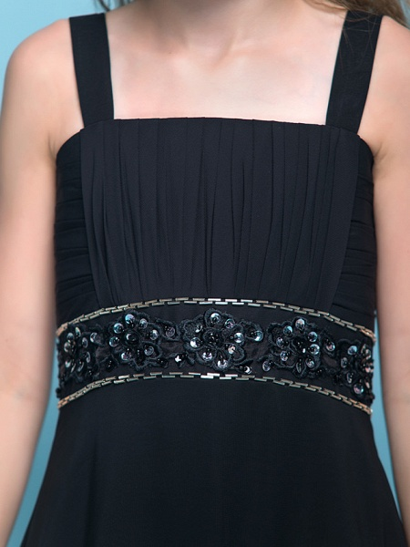 A-Line Straps Floor Length Chiffon Junior Bridesmaid Dress With Criss Cross / Ruched / Beading / Empire_7