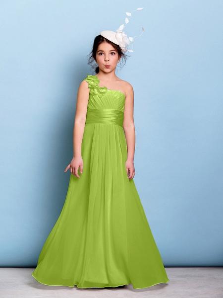 A-Line One Shoulder Floor Length Chiffon Junior Bridesmaid Dress With Sash / Ribbon / Criss Cross / Ruched / Natural_27