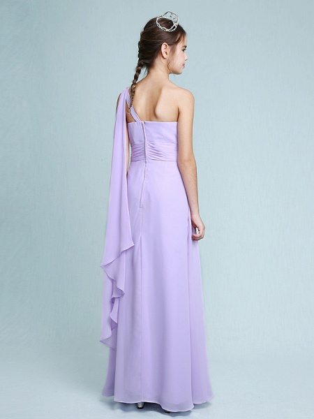Sheath / Column One Shoulder Floor Length Chiffon Junior Bridesmaid Dress With Ruched / Beading / Side Draping / Natural_2