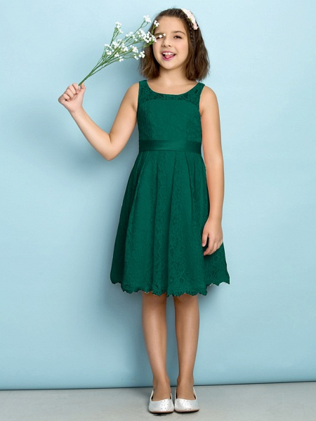 A-Line Scoop Neck Knee Length All Over Floral Lace Junior Bridesmaid Dress With Lace / Natural / Mini Me_25