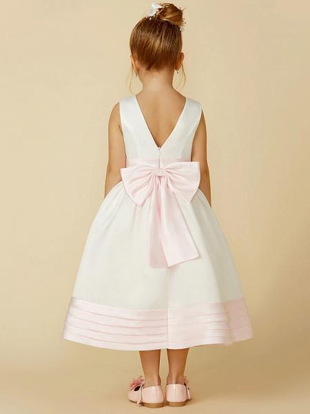 A-Line Tea Length Wedding / First Communion Flower Girl Dresses - Satin Sleeveless Jewel Neck With Sash / Ribbon / Bow(S)_2