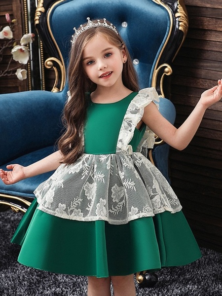 Princess / Ball Gown Knee Length Wedding / Party Flower Girl Dresses - Satin / Tulle Cap Sleeve Jewel Neck With Bow(S) / Color Block_2