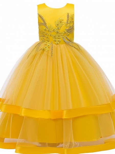 Princess / Ball Gown Floor Length Wedding / Party Flower Girl Dresses - Tulle Sleeveless Jewel Neck With Bow(S) / Appliques / Cascading Ruffles_7