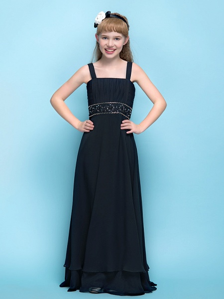 A-Line Straps Floor Length Chiffon Junior Bridesmaid Dress With Criss Cross / Ruched / Beading / Empire_2