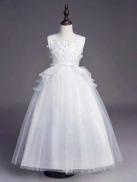 Princess Long Length Wedding / First Communion Flower Girl Dresses - Satin / Tulle Sleeveless Jewel Neck With Belt / Beading / Embroidery_1