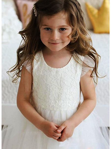 A-Line Floor Length Wedding / Party Flower Girl Dresses - Lace / Satin / Tulle Sleeveless Jewel Neck With Solid_3