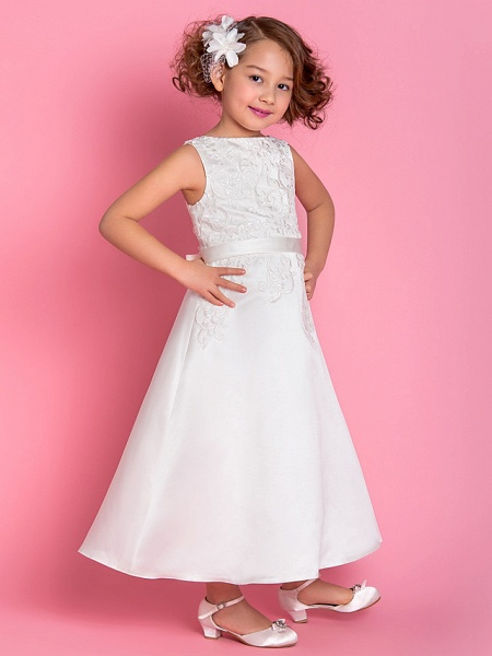 A-Line Tea Length Wedding / First Communion Flower Girl Dresses - Satin Sleeveless Scoop Neck With Bow(S) / Appliques / Spring / Summer / Fall / Winter_2
