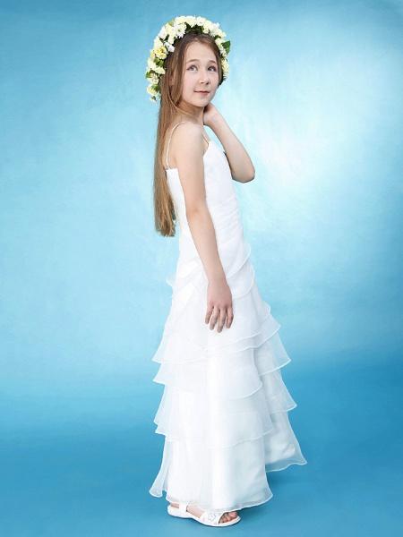Princess / A-Line Spaghetti Strap Floor Length Organza / Satin Junior Bridesmaid Dress With Side Draping / Spring / Summer / Fall / Wedding Party / Natural_4