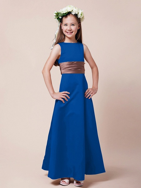 Princess / A-Line Bateau Neck Floor Length Satin Junior Bridesmaid Dress With Sash / Ribbon / Ruched / Spring / Summer / Fall / Winter / Apple_31