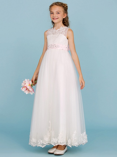 Princess / A-Line Crew Neck Ankle Length Lace Over Tulle Junior Bridesmaid Dress With Sash / Ribbon / Beading / Appliques / Wedding Party / Open Back_1