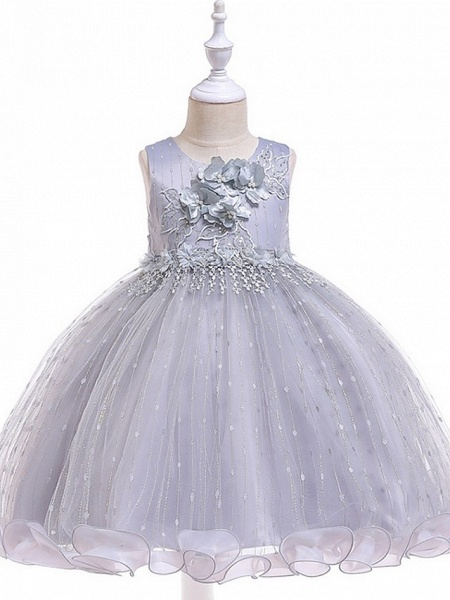 Princess / Ball Gown Knee Length Wedding / Party Flower Girl Dresses - Tulle Sleeveless Jewel Neck With Bow(S) / Beading / Appliques_13