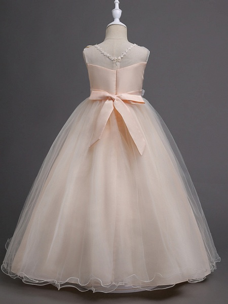 Princess Long Length Wedding / First Communion Satin / Tulle Sleeveless Jewel Neck With Belt / Appliques_6