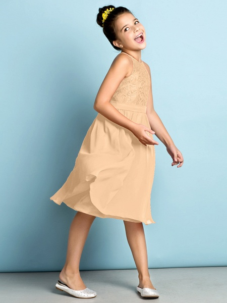 A-Line Jewel Neck Knee Length Chiffon / Lace Junior Bridesmaid Dress With Lace / Natural / Mini Me_17