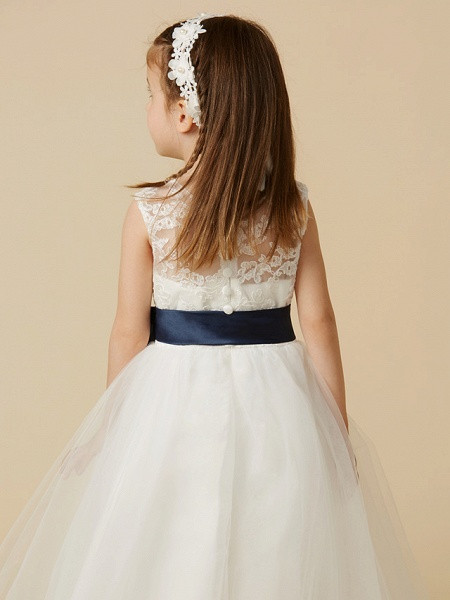 A-Line Ankle Length Wedding / First Communion Flower Girl Dresses - Lace / Tulle Sleeveless Jewel Neck With Sash / Ribbon / Bow(S) / Buttons_6