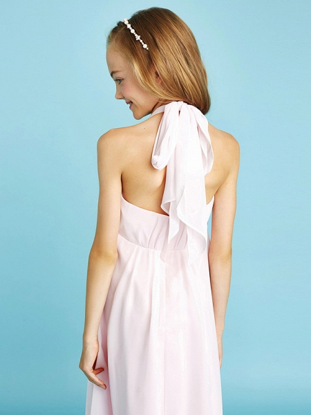 Sheath / Column Halter Neck Asymmetrical Chiffon Junior Bridesmaid Dress With Bow(S) / Beading / Natural_8