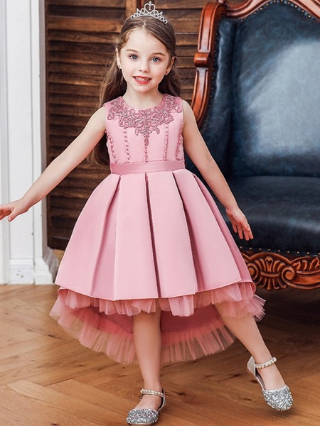 Princess / Ball Gown Knee Length Wedding / Party Flower Girl Dresses - Lace / Satin Sleeveless Jewel Neck With Sash / Ribbon / Pleats / Embroidery_1